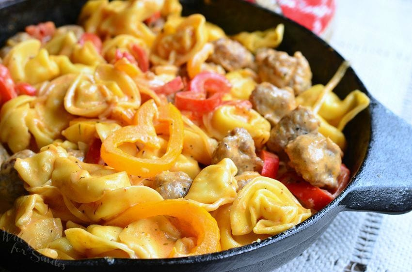 Sausage Peppers and Onion Tortellini Skillet 2 from willcookforsmiles.com