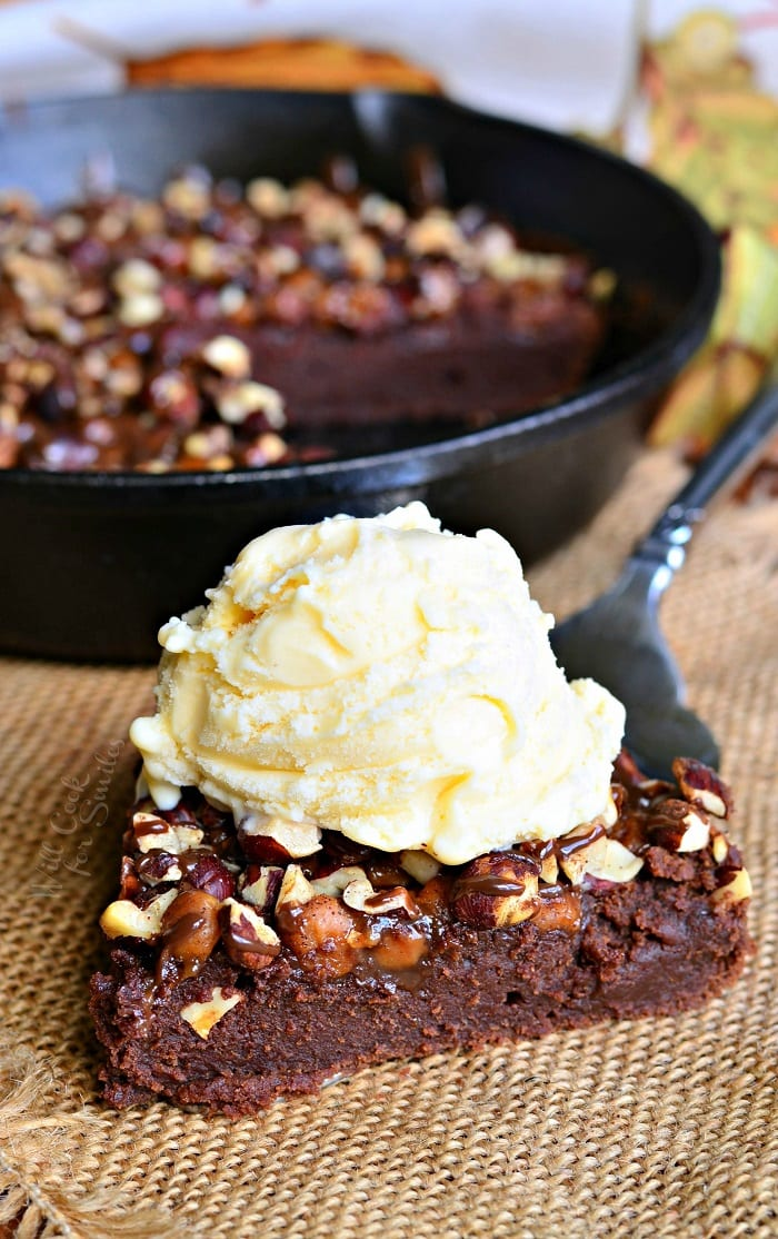 Small Batch Pumpkin Turtle Brownie Skillet 3 from willcookforsmiles.com