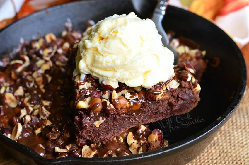 Small Batch Pumpkin Turtle Brownie Skillet 5 from willcookforsmiles.com