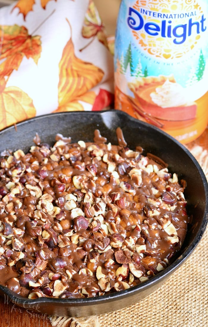 Small Batch Pumpkin Turtle Brownie Skillet from willcookforsmiles.com