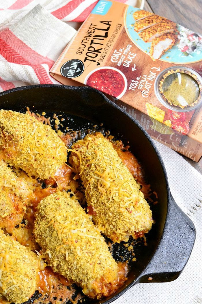 Southwest Pork Rollups in a cast iron skillet