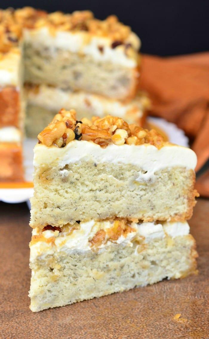Caramel Banana Nut Cake | from willcookforsmiles.com #caramel #cake #dessert
