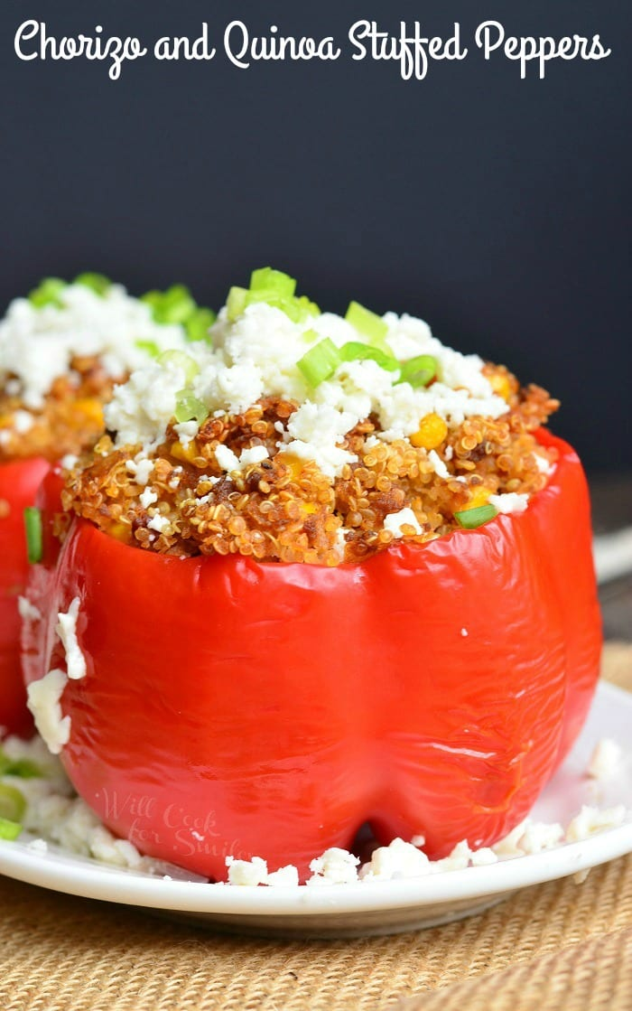 Chorizo and Quinoa Stuffed Peppers | from willcookforsmiles.com #dinner