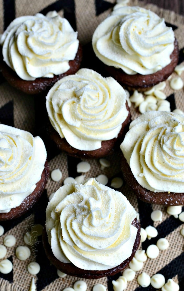 Double Chocolate Cupcakes (with White Chocolate Cream Cheese Frosting) | from willcookforsmiles.com