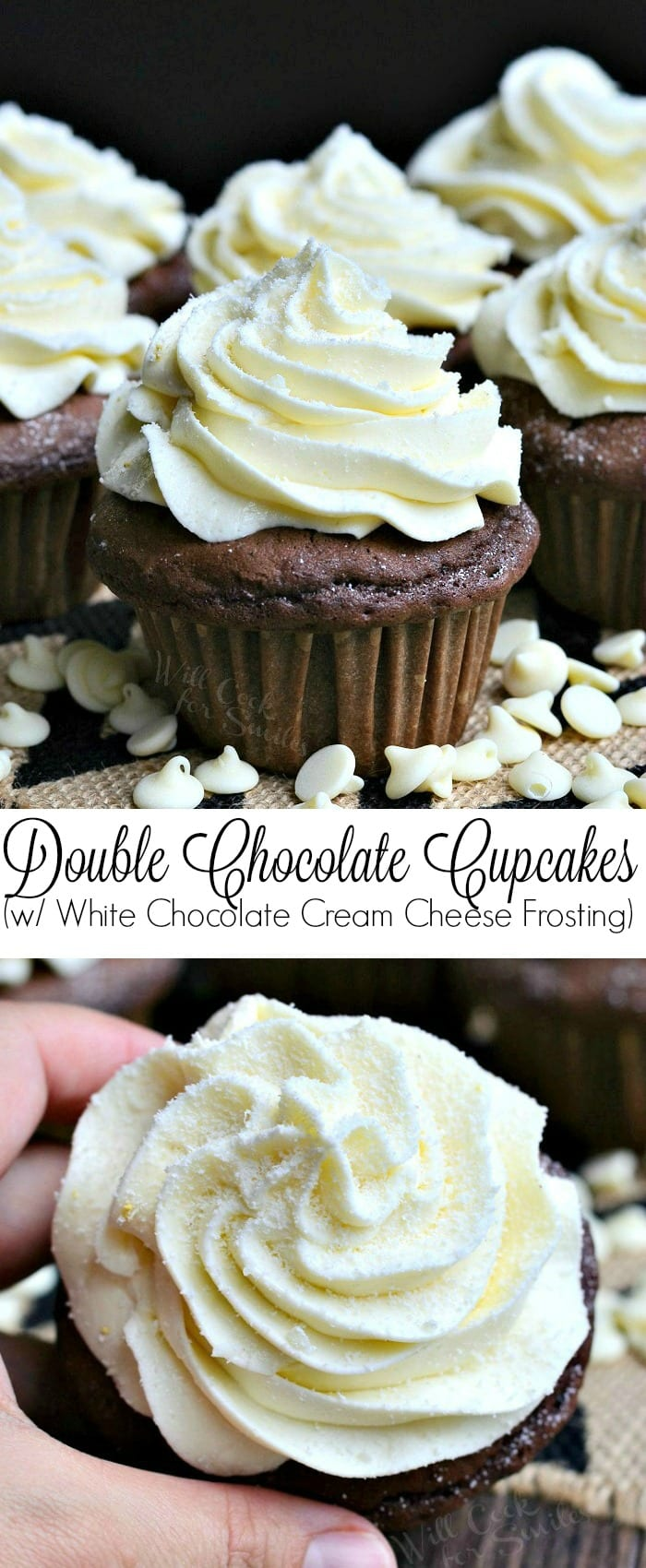 Double Chocolate Cupcakes (with White Chocolate Cream Cheese Frosting) | from willcookforsmiles.com #cupcake #cake #dessert