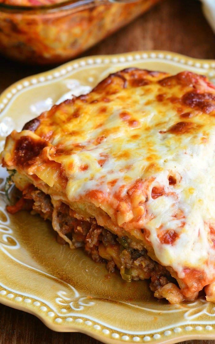 a slice of Italian Sausage Lasagna on a plate