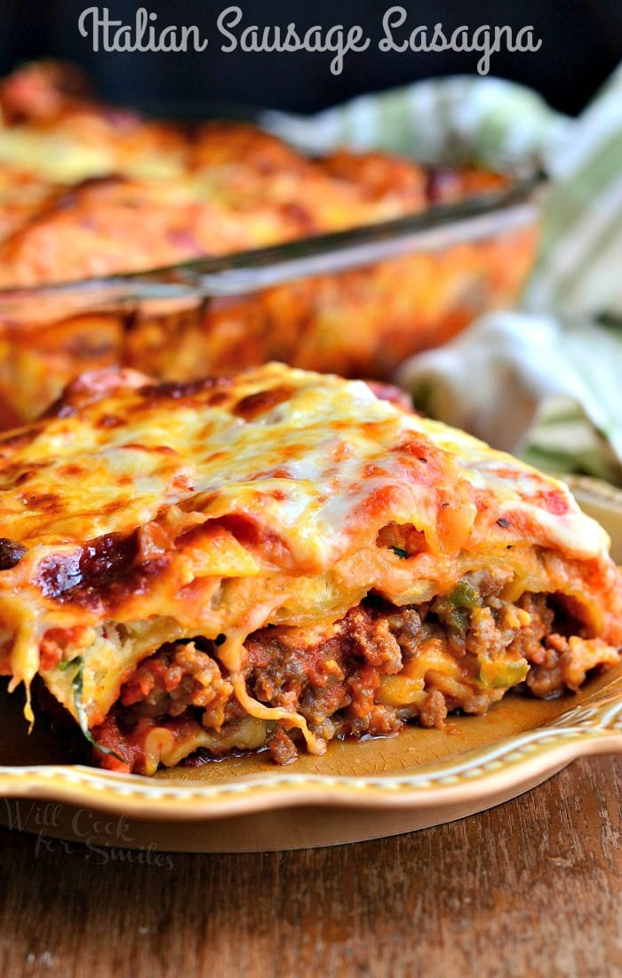 Italian Sausage Lasagna | from willcookforsmiles.com #dinner #italiansausage