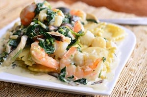 Ravioli-with-Seafood-Spinach-Mushrooms-in-Garlic-Cream-Sauce-1-from-willcookforsmiles.com_