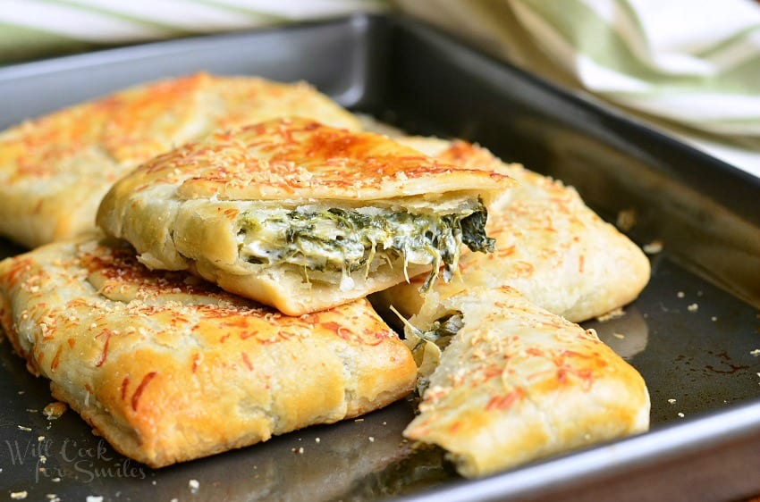 Spinach Artichoke Hand Pies | from willcookforsmiles.com #artichoke #spinach #cheese