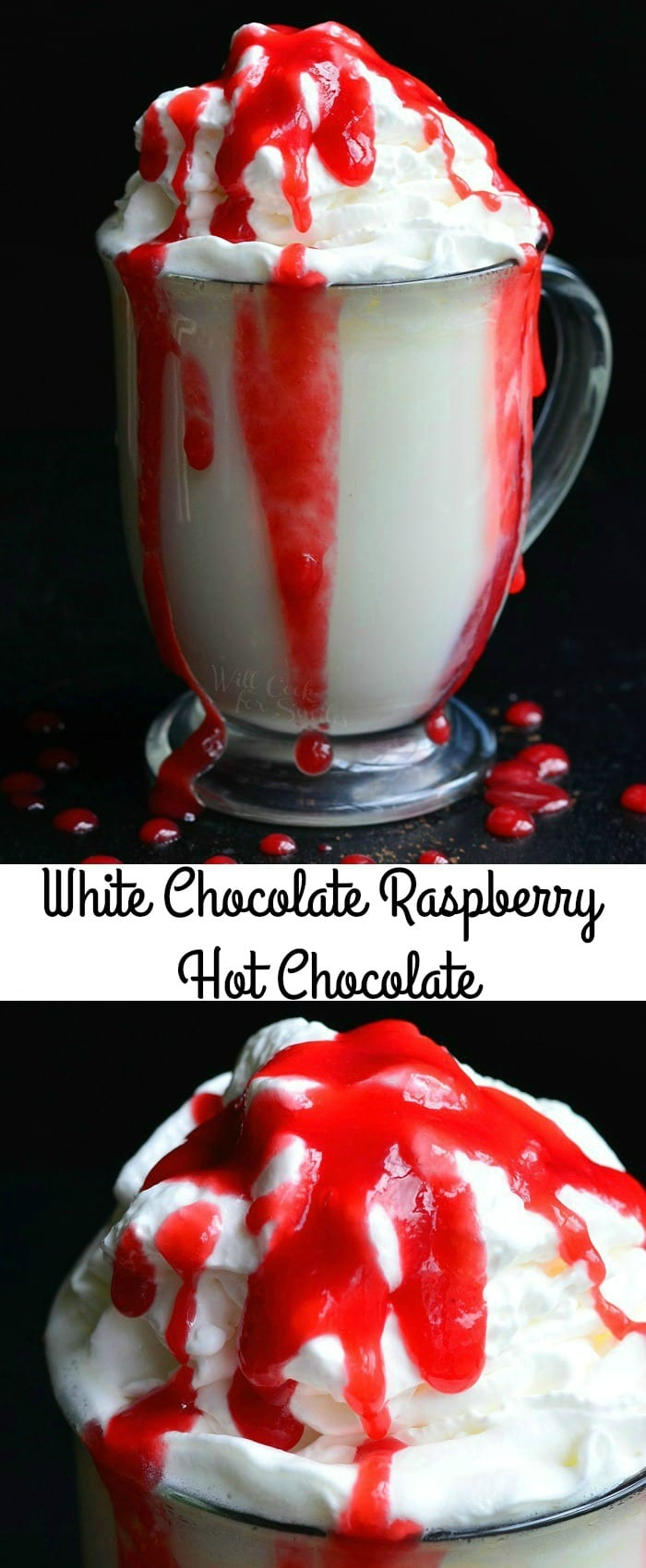 White Chocolate Raspberry Halloween Hot Chocolate   from willcookforsmiles.com #drink #chocolate #hotdrink