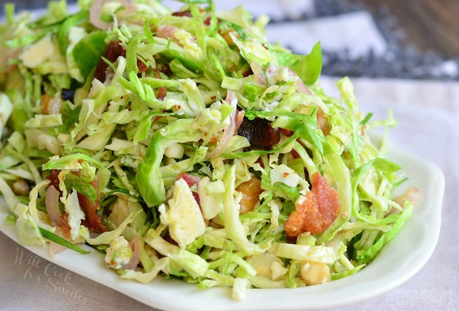 Bacon and Blue Brussels Sprouts Salad with Warm Bacon Vinaigrette 3 from willcookforsmiles.com