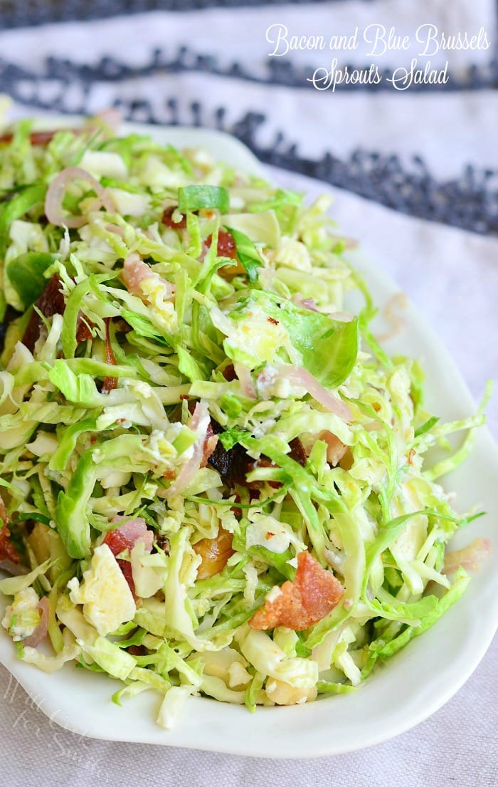 Bacon and Blue Brussels Sprouts Salad with Warm Bacon Vinaigrette | from willcookforsmiles.com