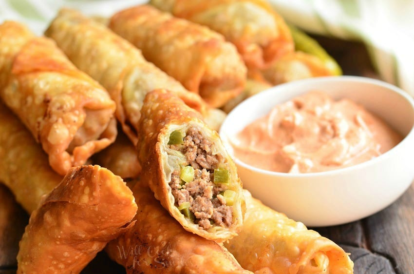 Cheeseburger Egg Rolls 3 from willcookforsmiles.com
