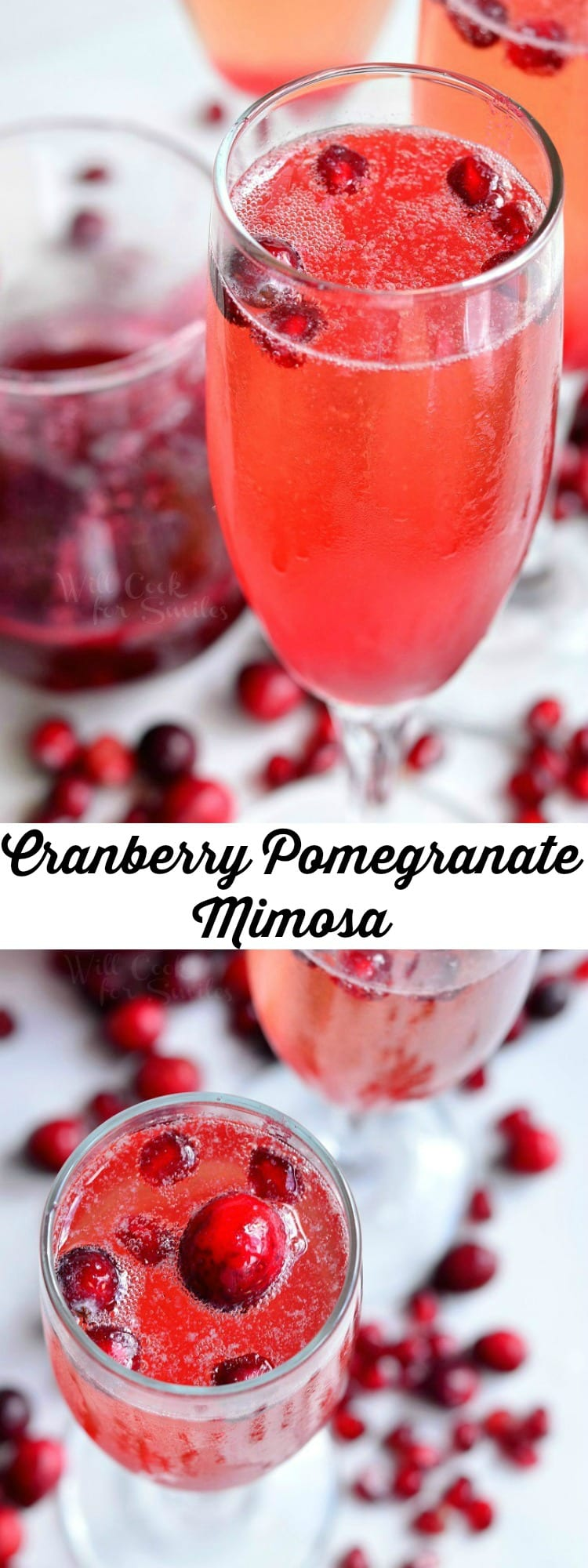 Cranberry Pomegranate Champagne Cocktail in a champagne glass with Pomegranate and cranberries in the glass as garnish and around the bottom of the glass