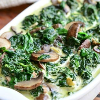 Creamed Spinach and Mushrooms in White Wine Sauce