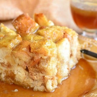 Holiday Nog Bread Pudding with Butter Brandy Sauce
