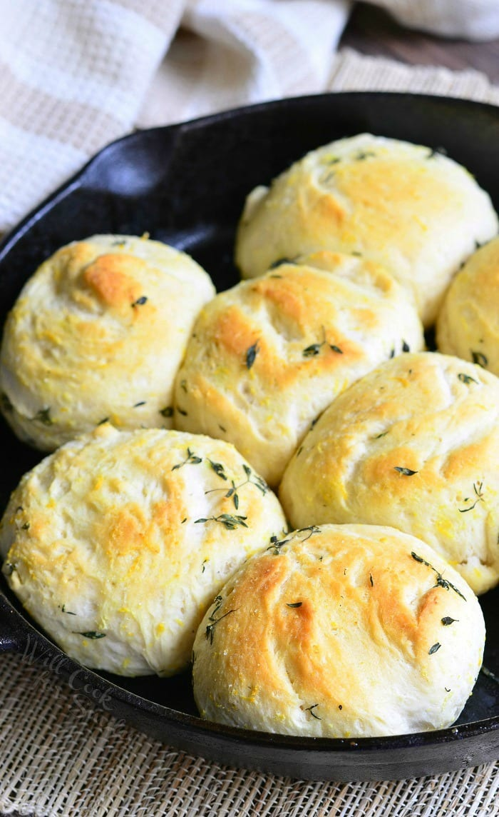 Lemon Thyme Skillet Biscuits in a cast iron skillet