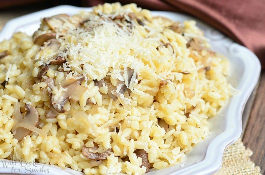 Parmesan Mushroom Orzo 3 from willcookforsmiles.com