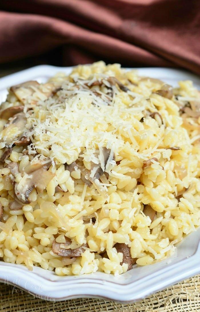 Parmesan Mushroom Orzo | from willcookforsmiles.com