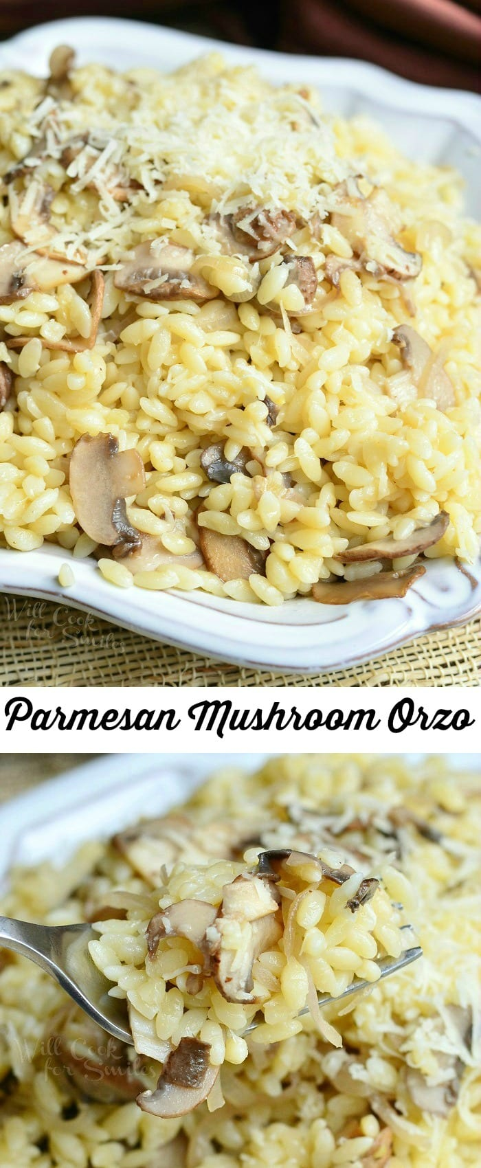 Parmesan Mushroom Orzo | from willcookforsmiles.com #pasta #sidedish #meatless