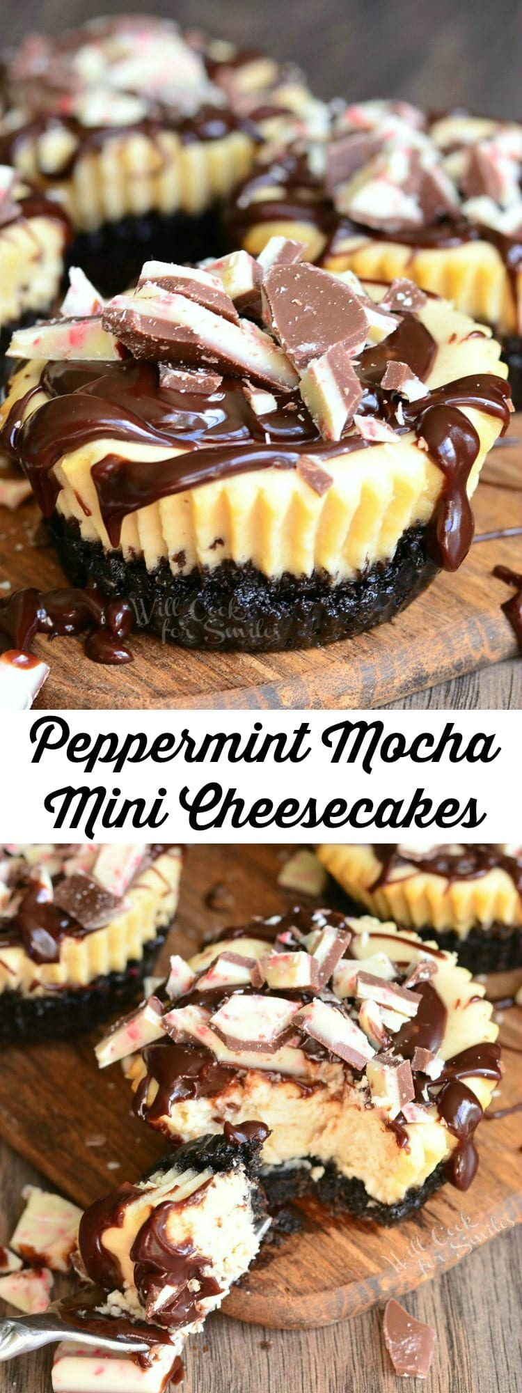 Peppermint Mocha Mini Cheesecakes collage