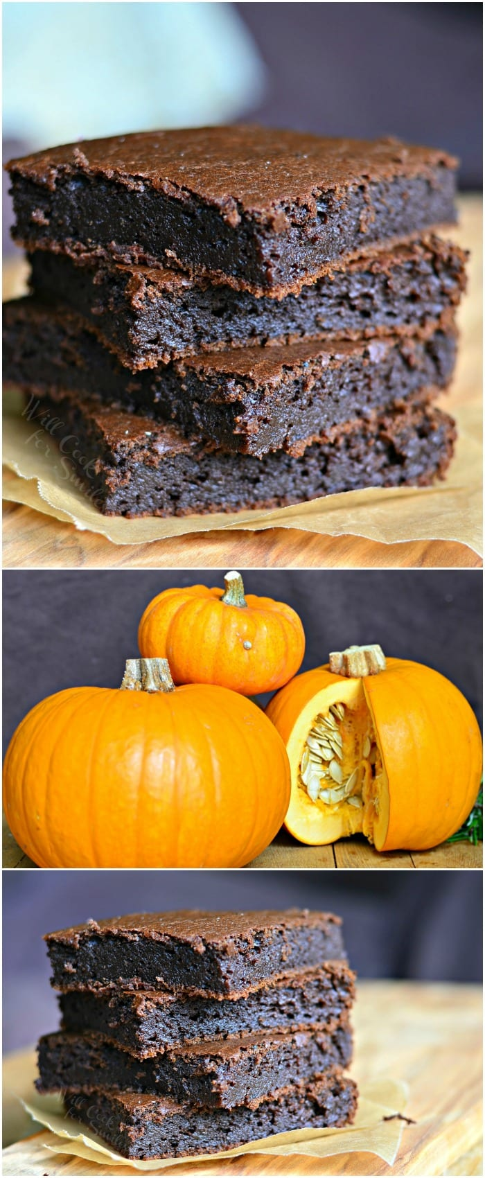 Pumpkin Brownies, chocolatey and gooey. | from willcookforsmiles.com