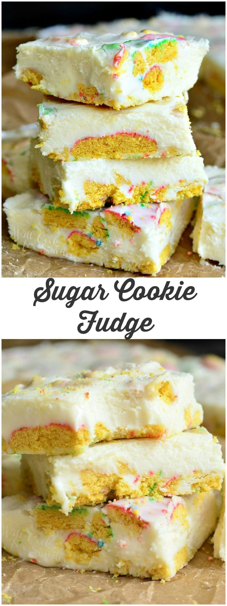 Sugar Cookie Fudge | from willcookforsmiles.com #dessert #whitechocolate #sugarcookie