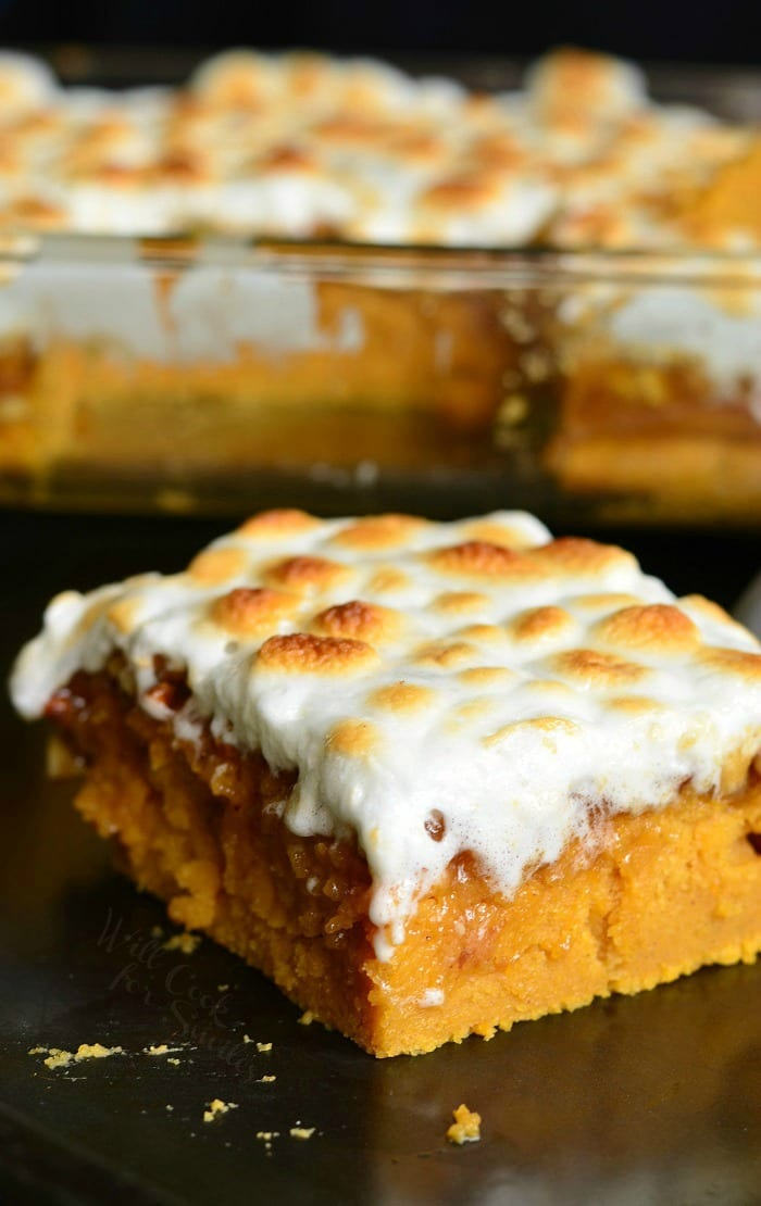sweet potato casserole slice with marshmallow topping on a table