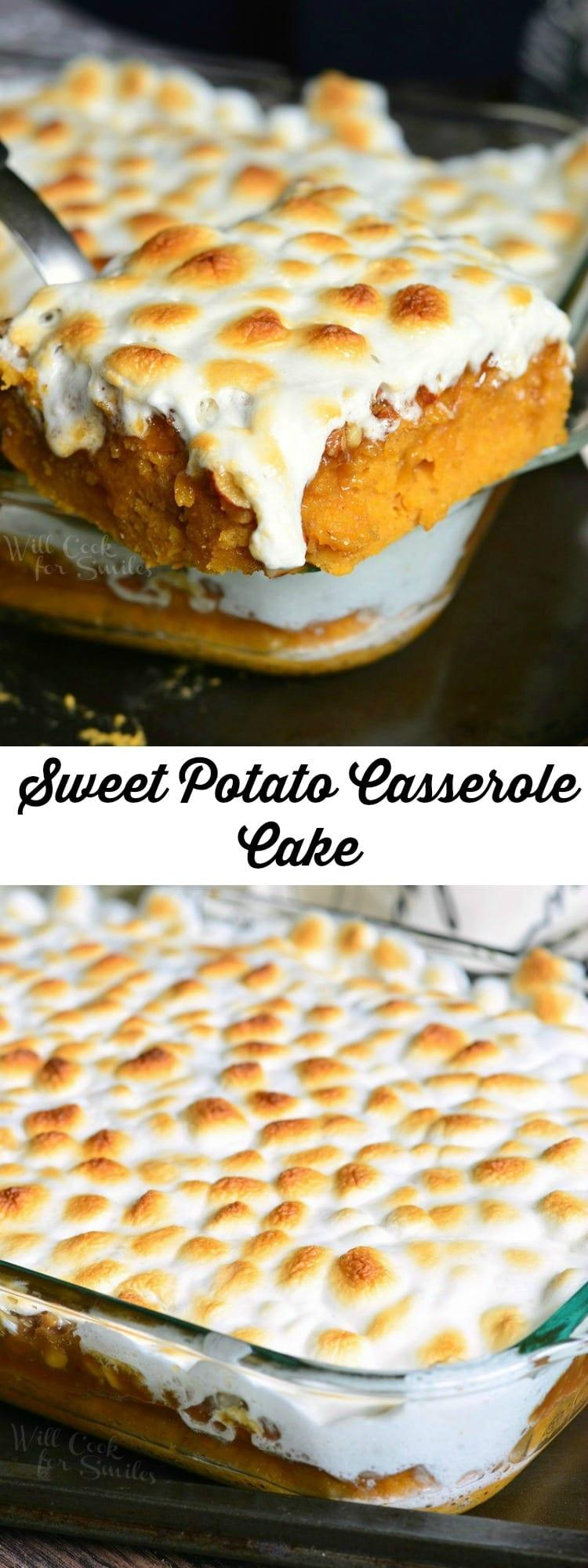 Sweet Potato Casserole Cake | from willcookforsmiles.com #desserts #pokecake