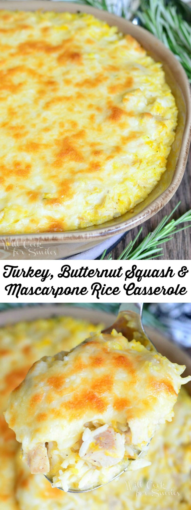 Turkey, Butternut Squash and Mascarpone Rice Casserole | from willcookforsmiles.com #turkey #chicken #comfortfood