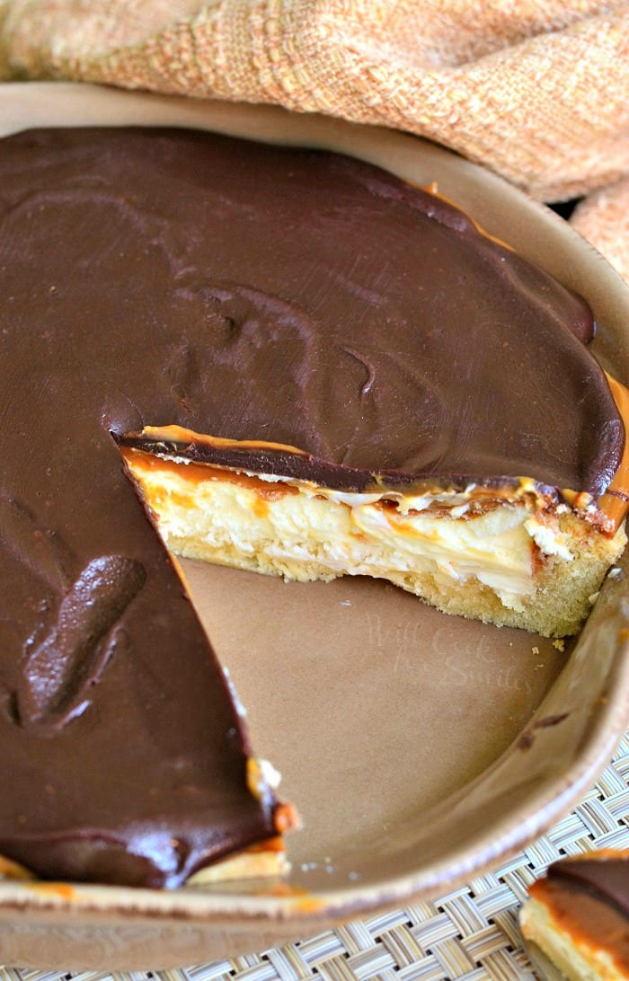 Twix Cheesecake Pie | from willcookforsmiles.com