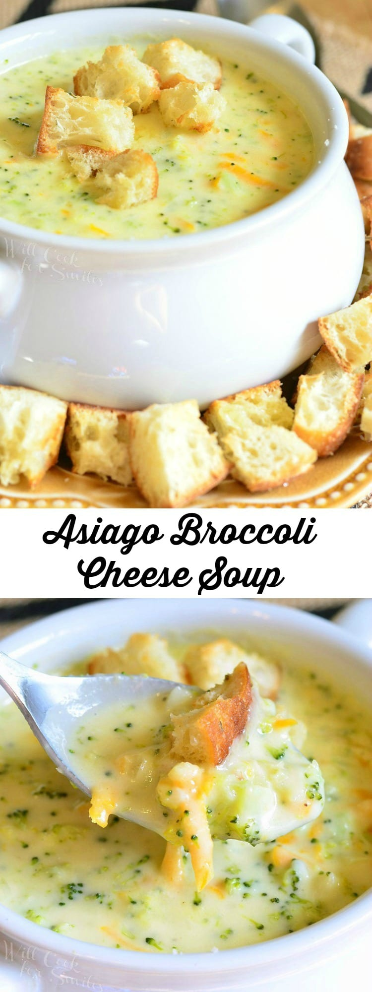 Asiago Broccoli Cheese Soup in a white soup bowl with cut up pieces of crusty bread on top and around the bottom of the bowl collage
