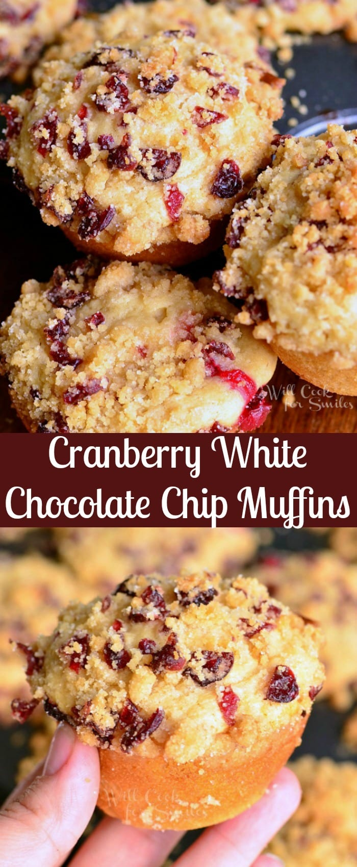 Cranberry White Chocolate Chip Streusel Muffins. Scrumptious, soft muffins made with fresh cranberries and white chocolate chips. These tasty muffins are also topped with sweet cranberry streusel. #muffins #cranberry #whitechocolate #breakfast #snack