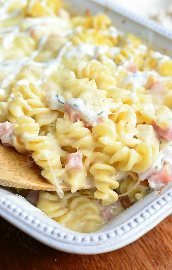 Creamy Chicken Cordon Bleu Pasta Casserole | from willcookforsmiles.com