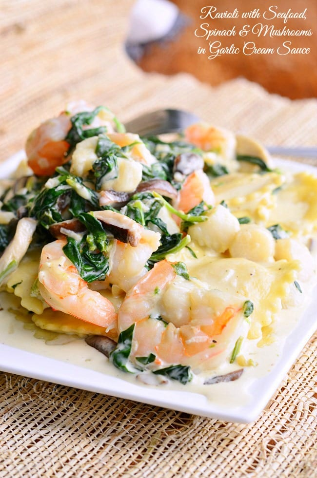 Ravioli-with-Seafood-Spinach-Mushrooms-in-Garlic-Cream-Sauce-from-willcookforsmiles.com_