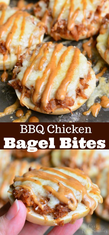 Asiago BBQ Chicken Bagel Bites. bagel bites topped with BBQ smoked chicken, Monterrey Jack and Asiago cheeses, and topped with BBQ Ranch dressing. #appetizer #snack #bbqchicken #chicken #bagel #partyfood