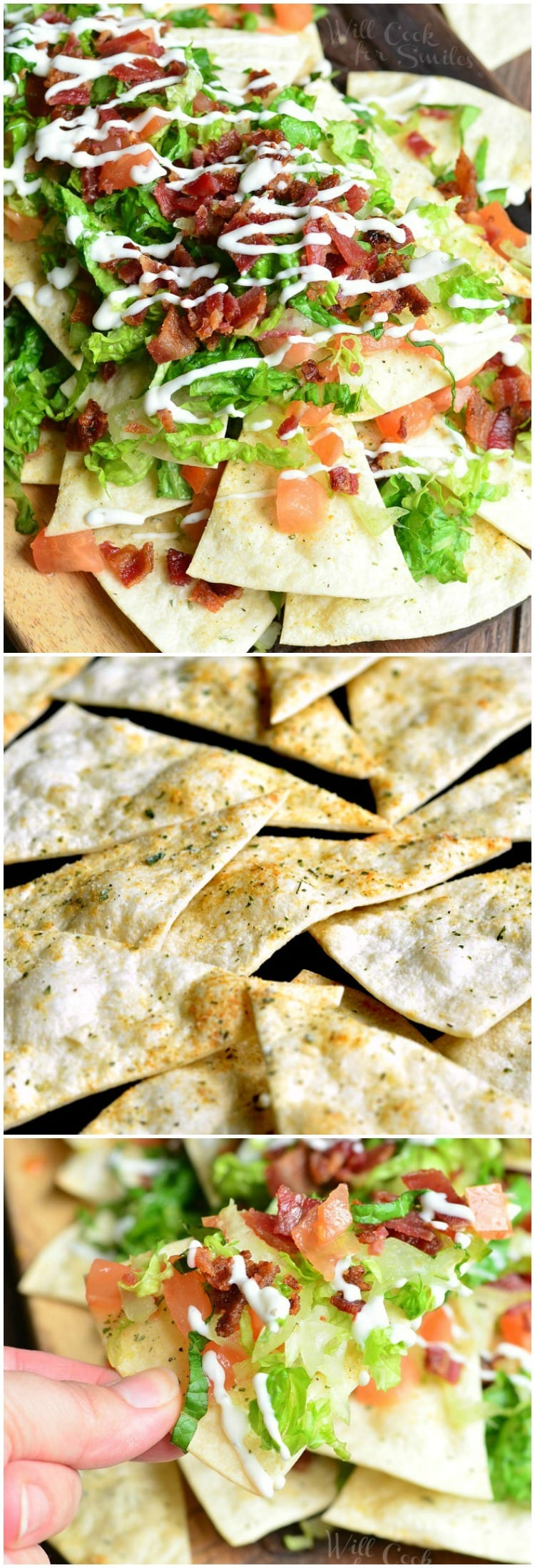 top photo BLT Nachos with lettuce, tomato, bacon, 2nd photo of chips, last photo holding a nacho