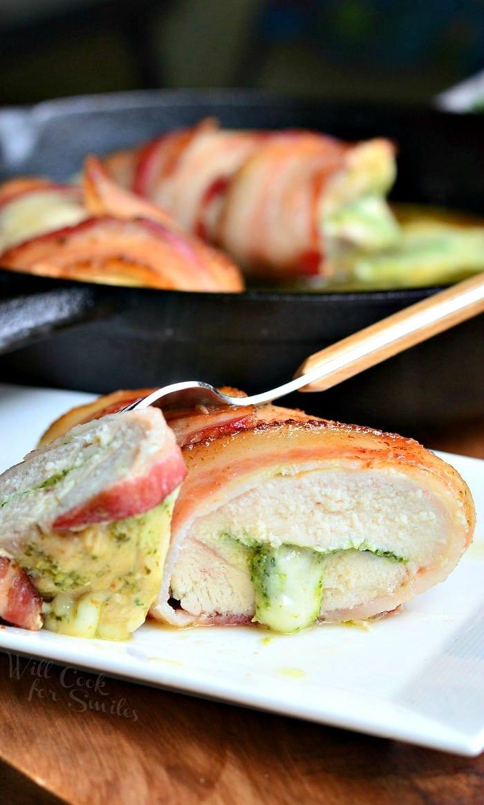 Bacon Wrapped, Mozzarella Pesto Stuffed Chicken | from willcookforsmiles.com