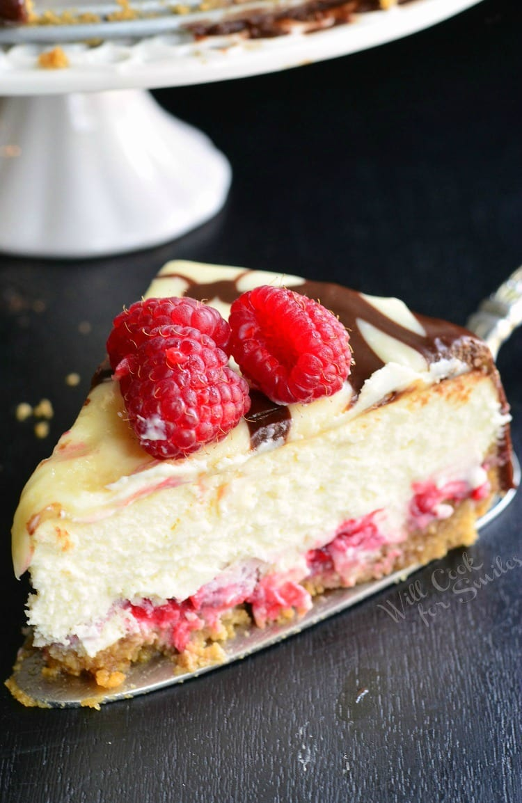 Double Chocolate Ganache and Raspberry Cheesecake | from willcookforsmiles.com