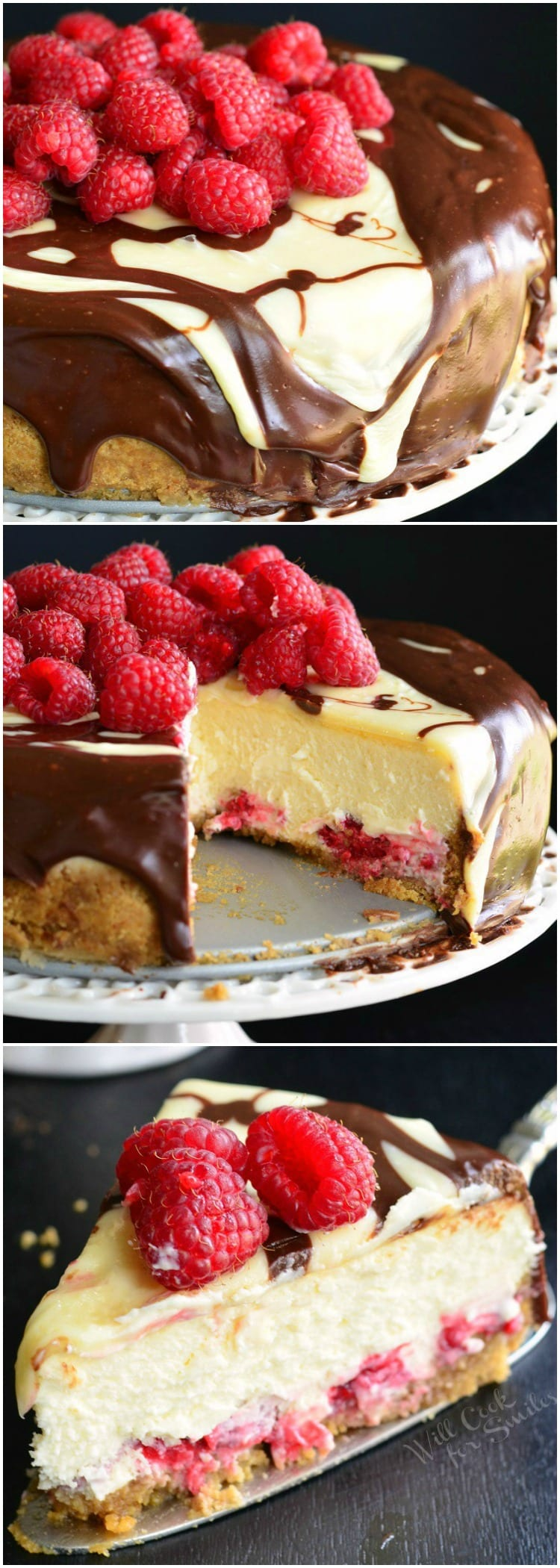 Double Chocolate Ganache and Raspberry Cheesecake with raspberries on top on a cake stand