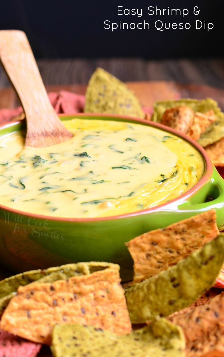 Easy Shrimp and Spinach Queso Dip | from willcookforsmiles.com