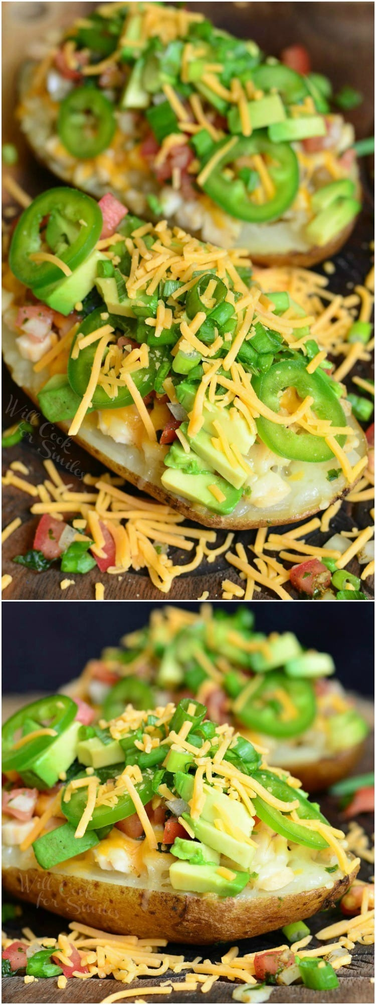 Twice Baked Potatoes with cheese, green onions, jalapenos, and avocado