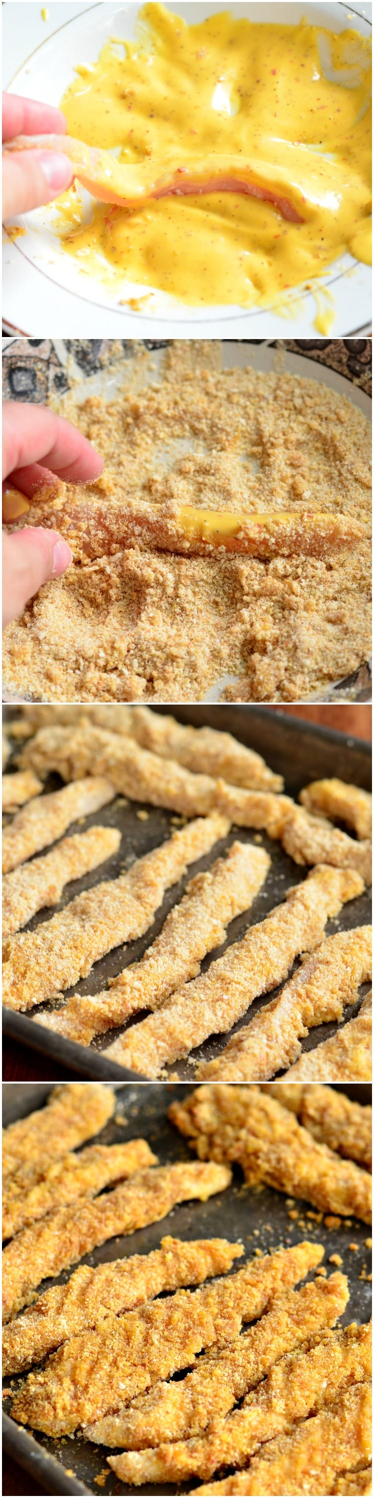 Easy Honey Mustard Baked Chicken Fries collage