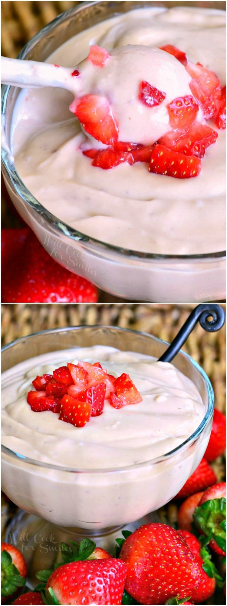 Homemade Strawberry Pudding | from willcookforsmiles.com #desserts #pudding