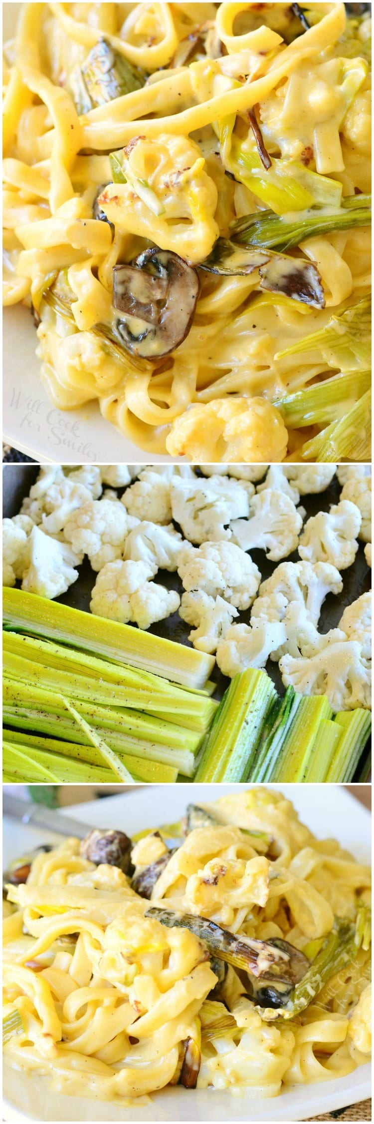 Roasted Cauliflower Leek and Mushroom Fettuccine in Garlic Cheese Sauce | from willcookforsmiles.com #pasta #comfortfood #veggies