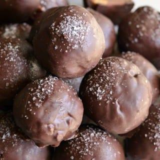 Salted Almond Fudge Truffles