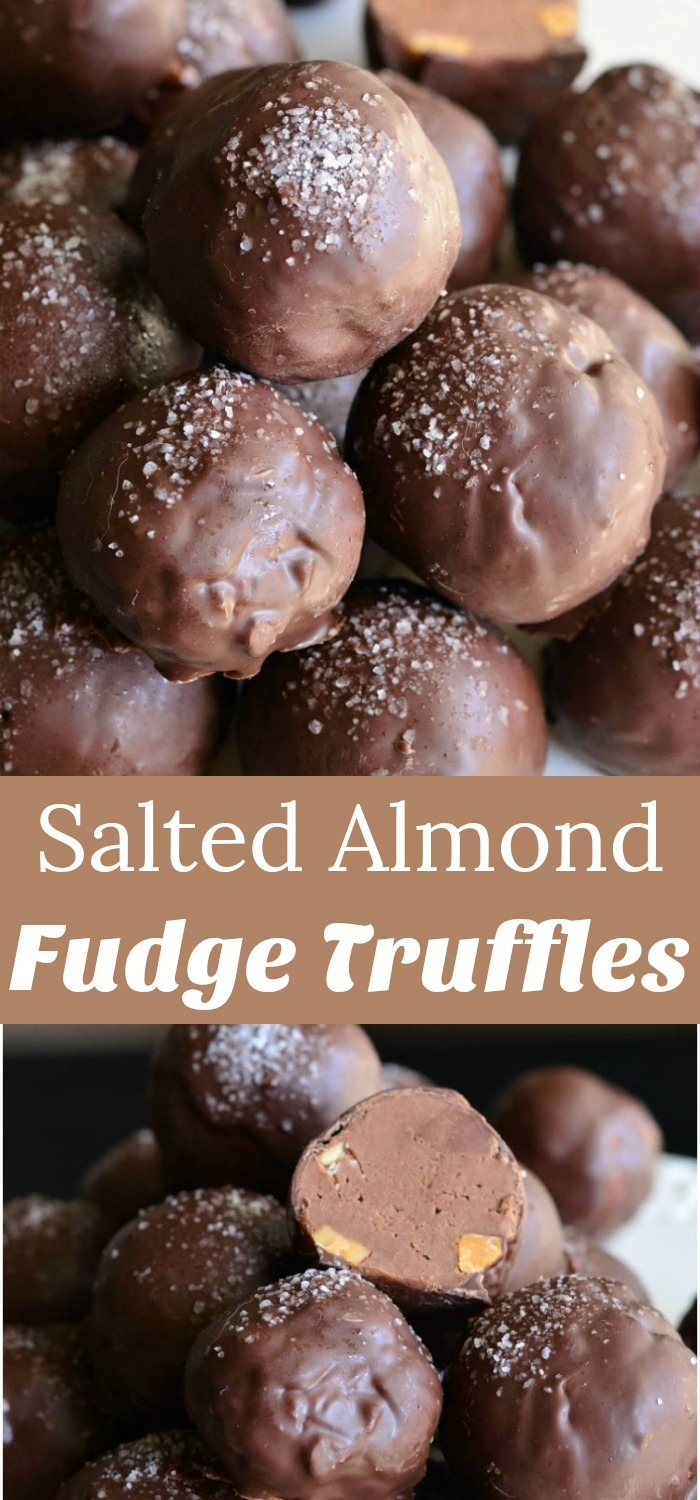 Salted Almond Fudge Truffles. Rich chocolate fudge truffles made with addition of toasted almond and sea salt. #dessert #nobake #chocolate #fudge #truffles