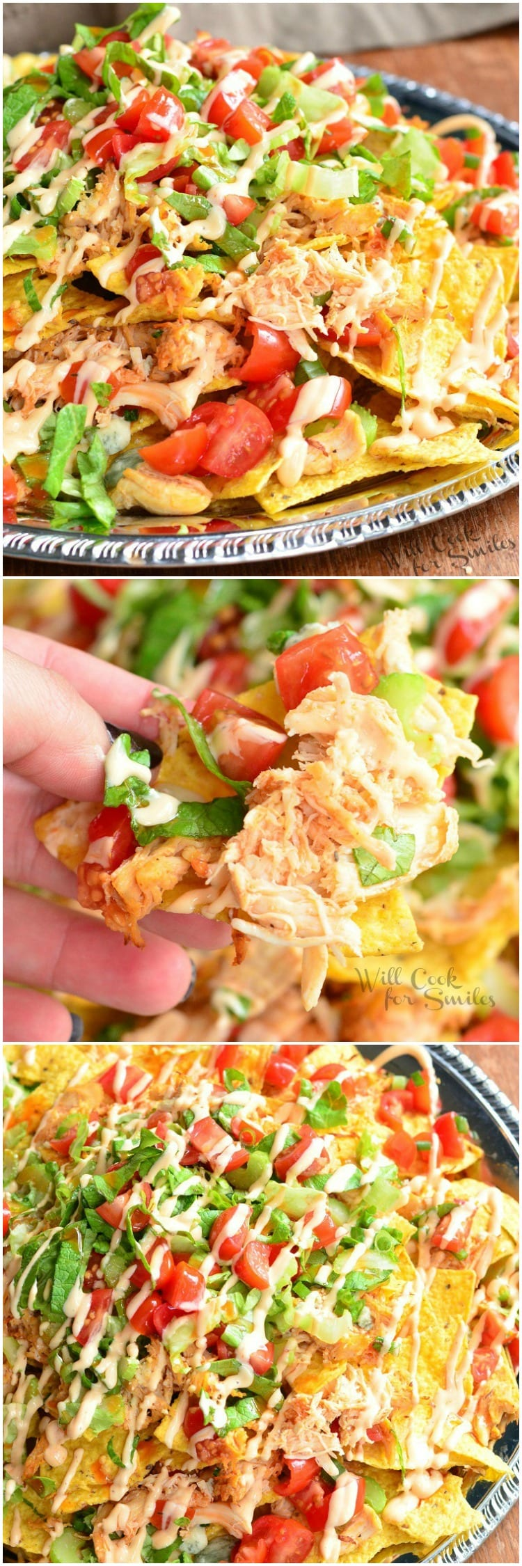 Buffalo Chicken Nachos recipe made with crispy tortilla chips, spicy buffalo sauce coated shredded chicken, blue cheese, veggies, more cheese and buffalo ranch dressing. #nachos #chicken #spicy #buffalochicken #chickennachos