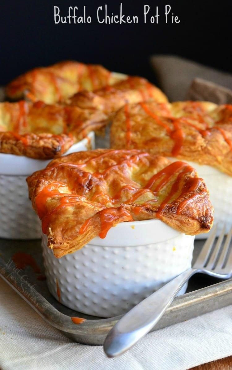 Buffalo Chicken Pot Pies in ramekin's