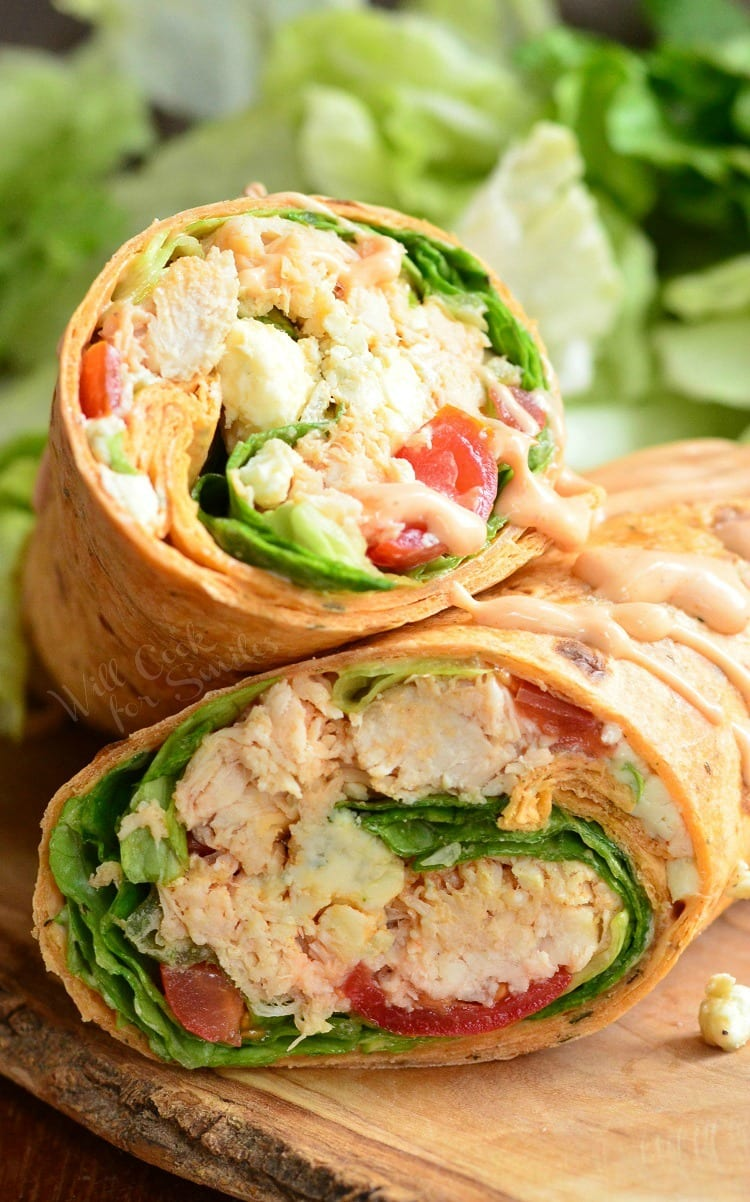Buffalo Chicken Wrap with Homemade Ranch. Delicious light lunch idea packed with your favorite buffalo chicken flavors.
